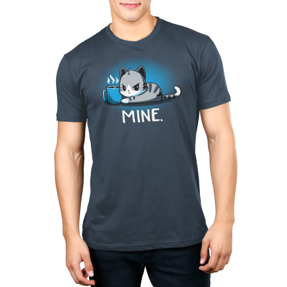 Mine. denim blue mens  tshirt model  featuring a cat guarding its coffee