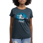 Mine. denim blue womens  tshirt model  featuring a cat guarding its coffee
