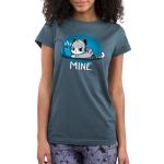 Mine. denim blue juniors  tshirt model  featuring a cat guarding its coffee