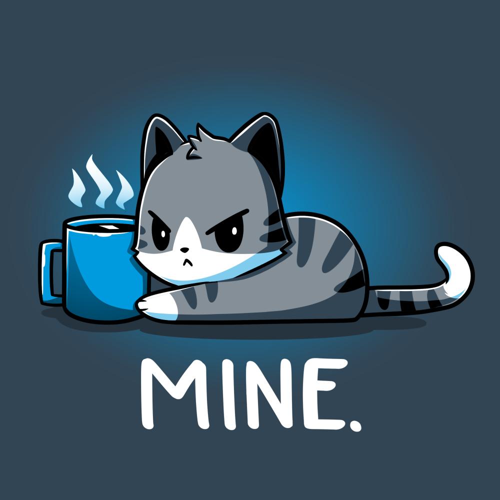 Mine. denim blue tshirt featuring a cat guarding its coffee