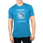 Loafing on the edge cobalt blue mens  tshirt model  featuring a cat curled up on the edge of a cliff