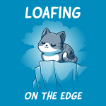 Loafing on the edge cobalt blue tshirt featuring a cat curled up on the edge of a cliff