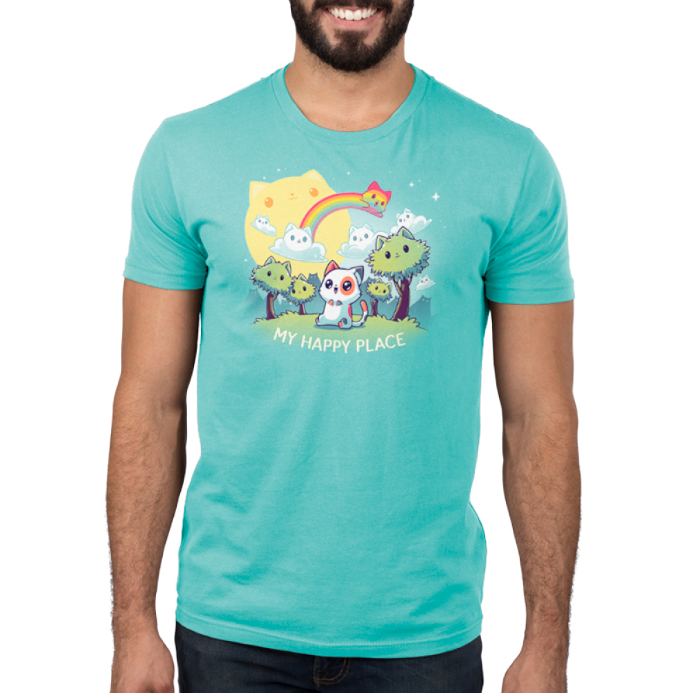 My Happy Place (Cats) mens tshirt model featuring a cat sitting in a forest of cat trees, with cat clouds and a cat sun, and a cat rainbow
