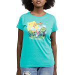 My Happy Place (Cats) womens tshirt model featuring a cat sitting in a forest of cat trees, with cat clouds and a cat sun, and a cat rainbow