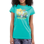 My Happy Place (Cats) juniors tshirt model featuring a cat sitting in a forest of cat trees, with cat clouds and a cat sun, and a cat rainbow