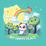 My Happy Place (Cats) tshirt featuring a cat sitting in a forest of cat trees, with cat clouds and a cat sun, and a cat rainbow