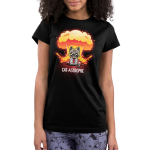 Cat-astrophe womens black tshirt model featuring a mad scientist cat with an explosion behind him with chemistry beakers laying around