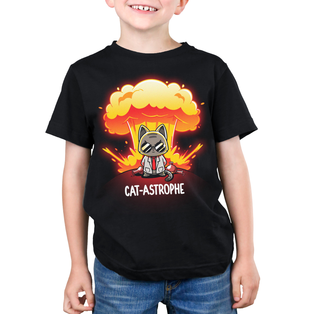 Cat-astrophe kids black tshirt model featuring a mad scientist cat with an explosion behind him with chemistry beakers laying around