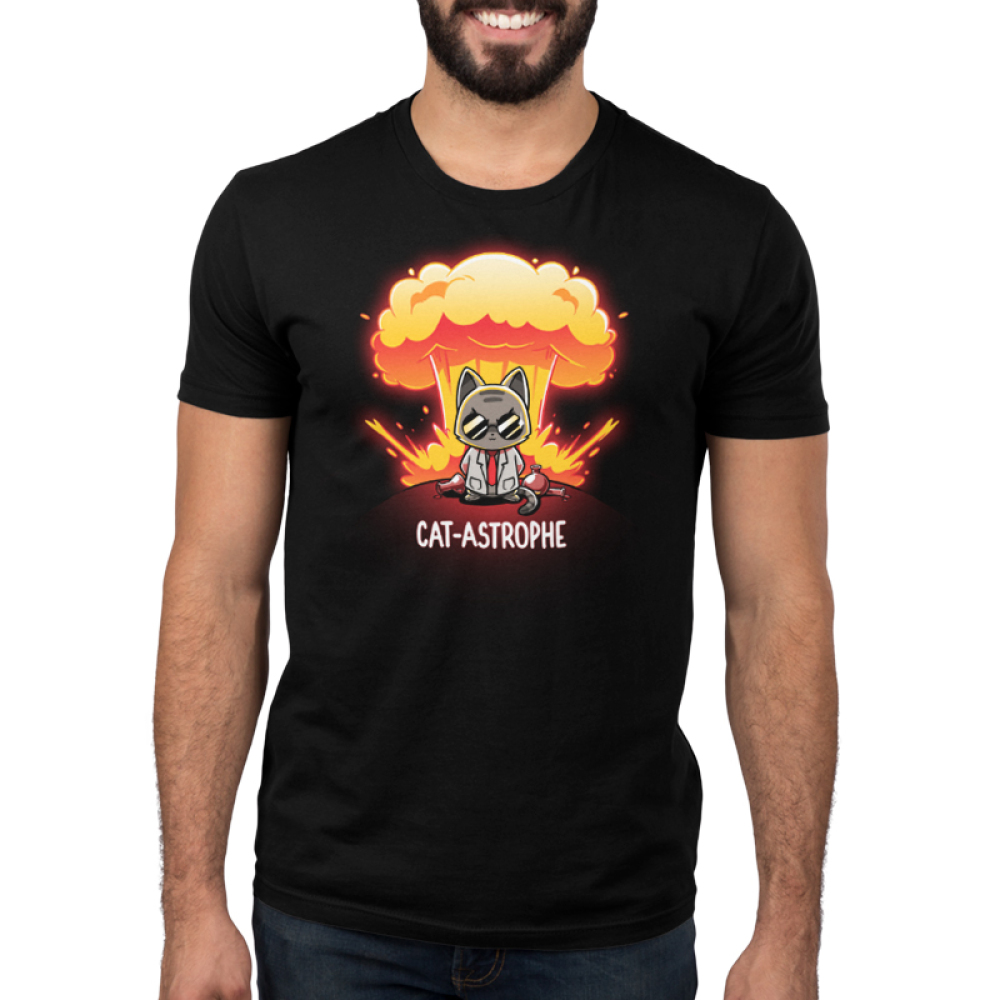 Cat-astrophe mens black tshirt model featuring a mad scientist cat with an explosion behind him with chemistry beakers laying around