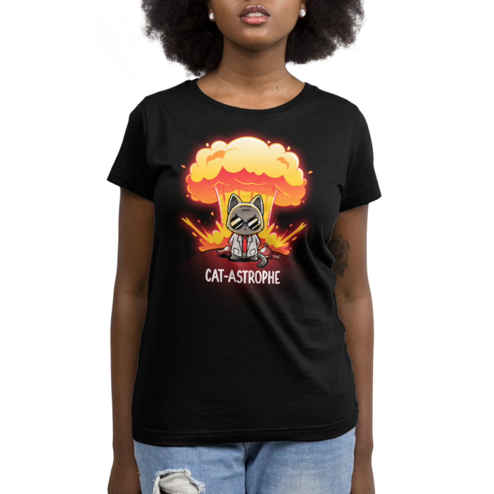 Cat-astrophe juniors black tshirt model featuring a mad scientist cat with an explosion behind him with chemistry beakers laying around