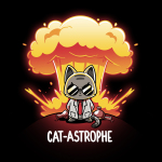 Cat-astrophe black tshrt featuring a mad scientist cat with an explosion behind him with chemistry beakers laying around