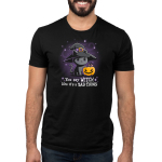 You Say Witch Like It's a Bad Thing mens model black tshirt featuring cat witch with a pumpkin