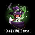 Science Makes Magic black tshirt featuring a fox stirring a cauldron