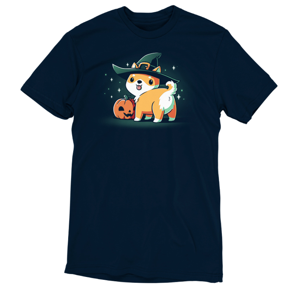 Spooky Shiba navy tshirt featuring a shiba in a witch hat