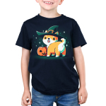 Spooky Shiba kids model navy tshirt featuring a shiba in a witch hat