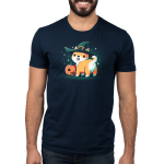 Spooky Shiba mens model navy tshirt featuring a shiba in a witch hat