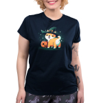 Spooky Shiba womens model navy tshirt featuring a shiba in a witch hat