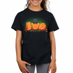 Pumpkin Kitty kids model black tshirt featuring a cat atop pumpkins carved out to say boo