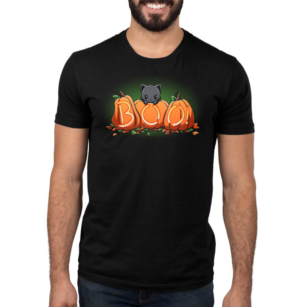Pumpkin Kitty mens model black tshirt featuring a cat atop pumpkins carved out to say boo