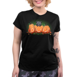 Pumpkin Kitty womens model black tshirt featuring a cat atop pumpkins carved out to say boo