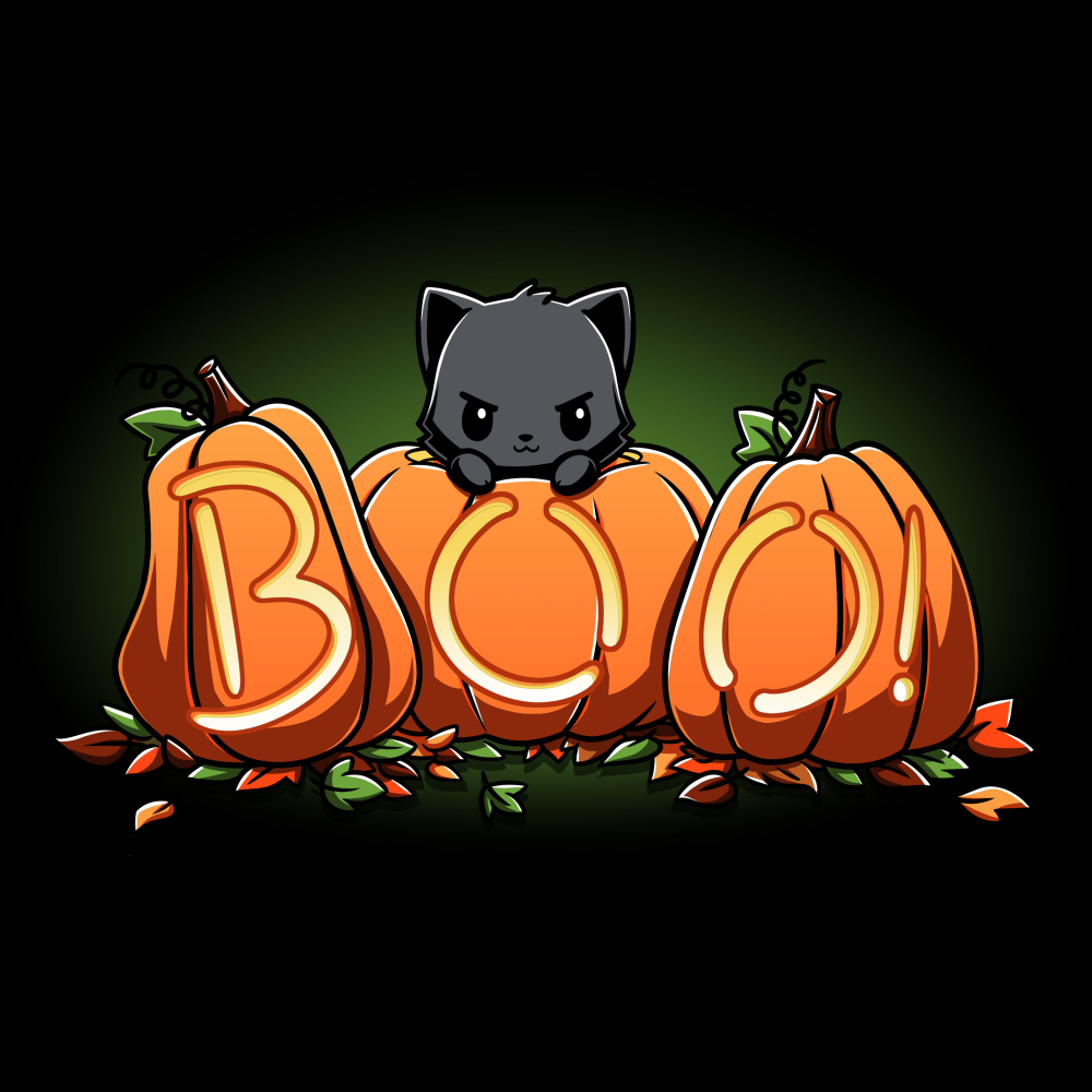 Pumpkin Kitty black tshirt featuring a cat atop pumpkins carved out to say boo
