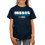 Rainboo ikids model navy tshirt featuring ghosts in all the colors of the rainbow