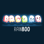 Rainboo navy tshirt featuring ghosts in all the colors of the rainbow