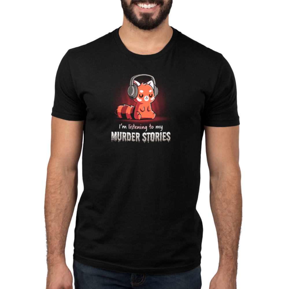 Murder stories mens model black tshirt featuring a red panda listening to a podcast