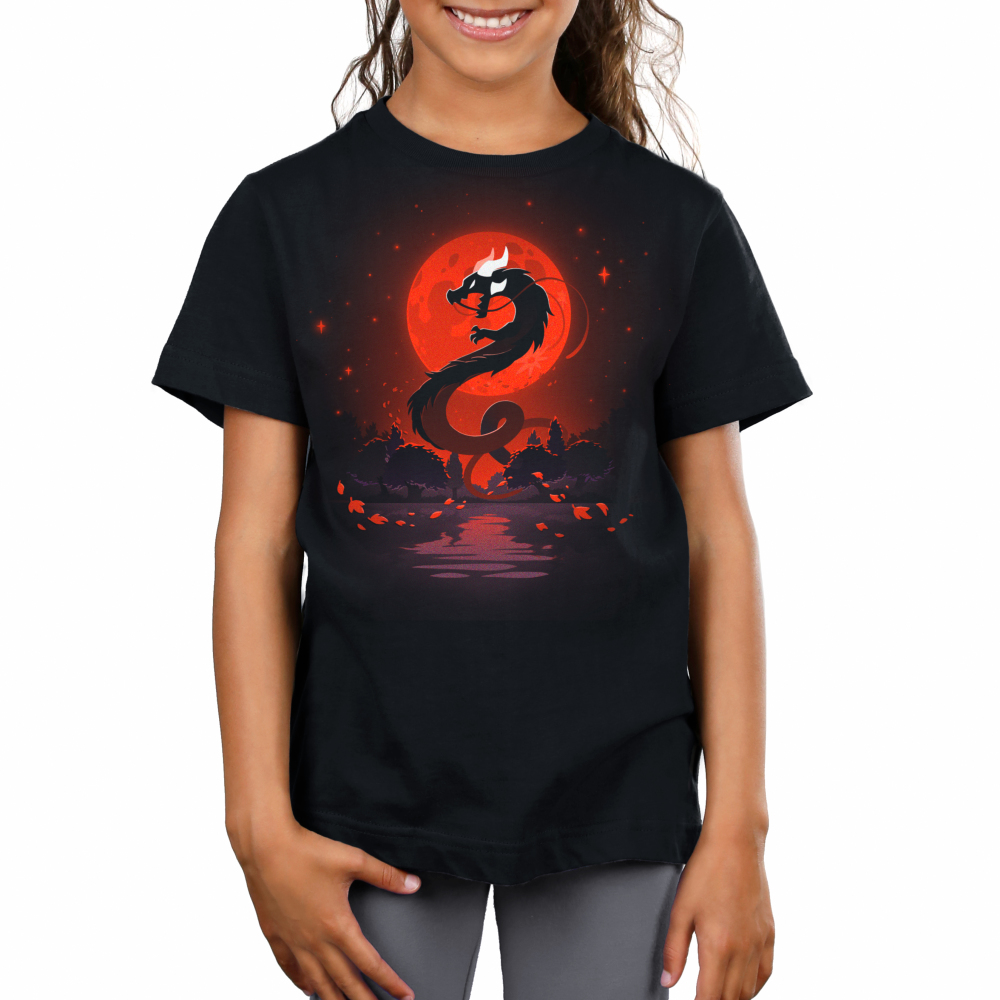 Blood moon dragon kids model  black tshirt featuring a blood moon and a dragon