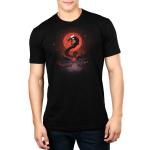 Blood moon dragon mens model  black tshirt featuring a blood moon and a dragon