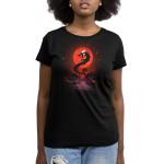 Blood moon dragon womens model  black tshirt featuring a blood moon and a dragon