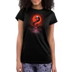 Blood moon dragon juniors model  black tshirt featuring a blood moon and a dragon