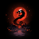 Blood moon dragon black tshirt featuring a blood moon and a dragon