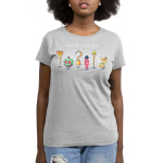 Choose Your Fate (Villains) womens tshirt model  officially licensed silver tshirt featuring a lineup of the disney villains weapons