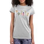 Choose Your Fate (Villains) juniors tshirt model  officially licensed silver tshirt featuring a lineup of the disney villains weapons