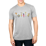 Choose Your Fate (Villains) mens tshirt model  officially licensed silver tshirt featuring a lineup of the disney villains weapons