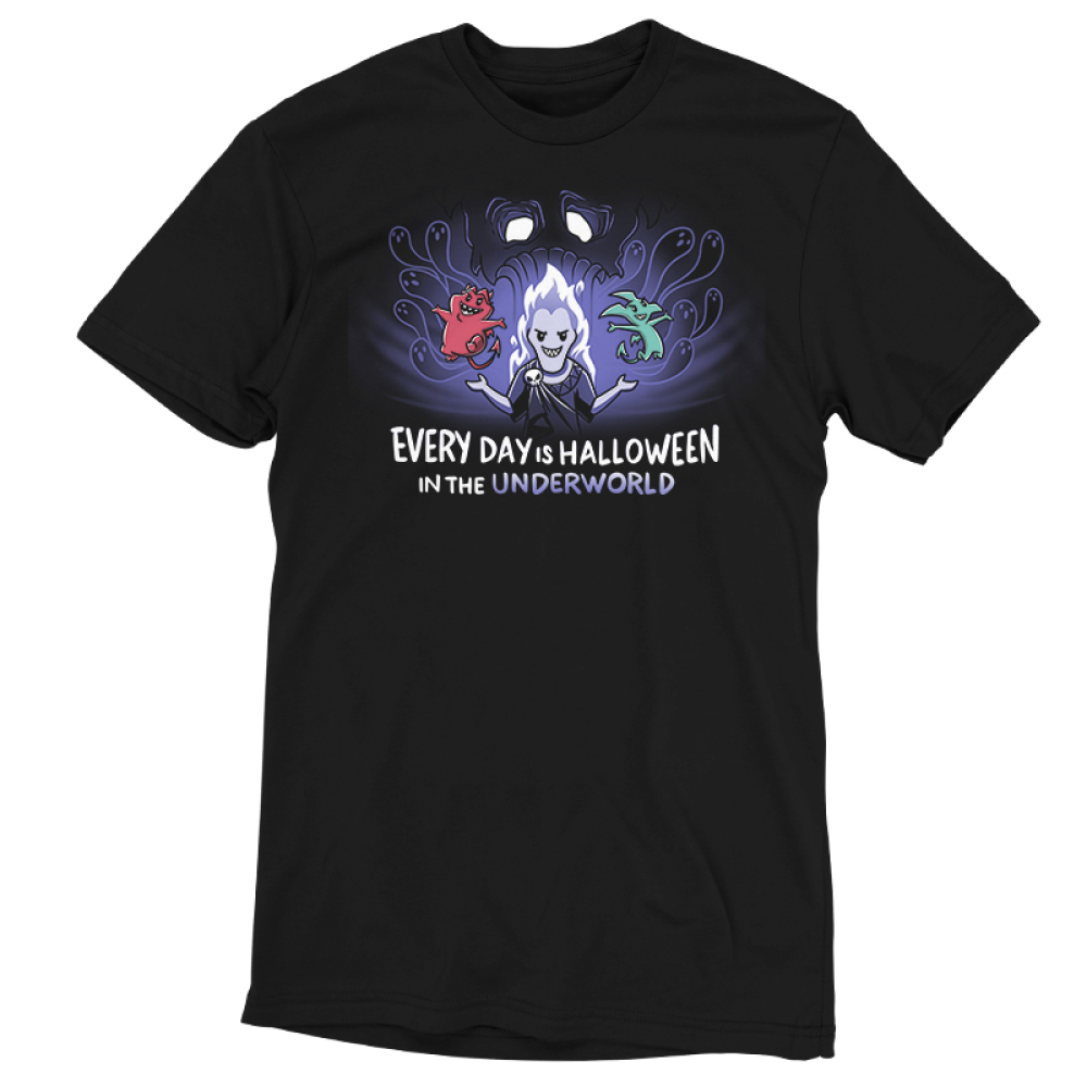 Halloween in the Underworld tshirt officially licensed black tshirt featuring Hades, pain and panic in the underworld