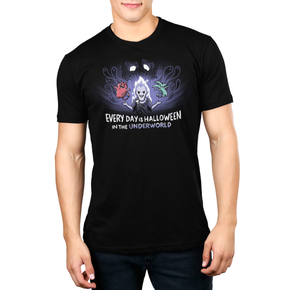 Halloween in the Underworld mens tshirt model officially licensed black tshirt featuring Hades, pain and panic in the underworld
