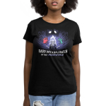 Halloween in the Underworld womens tshirt model officially licensed black tshirt featuring Hades, pain and panic in the underworld