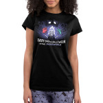 Halloween in the Underworld juniors tshirt model officially licensed black tshirt featuring Hades, pain and panic in the underworld