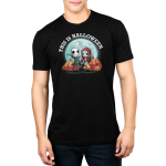 This is Halloween mens tshirt model officially licensed black tshirt featuring jack and sally in front of the moon and pumpkins