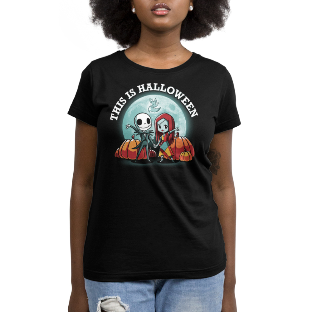 This is Halloween womens tshirt model officially licensed black tshirt featuring jack and sally in front of the moon and pumpkins