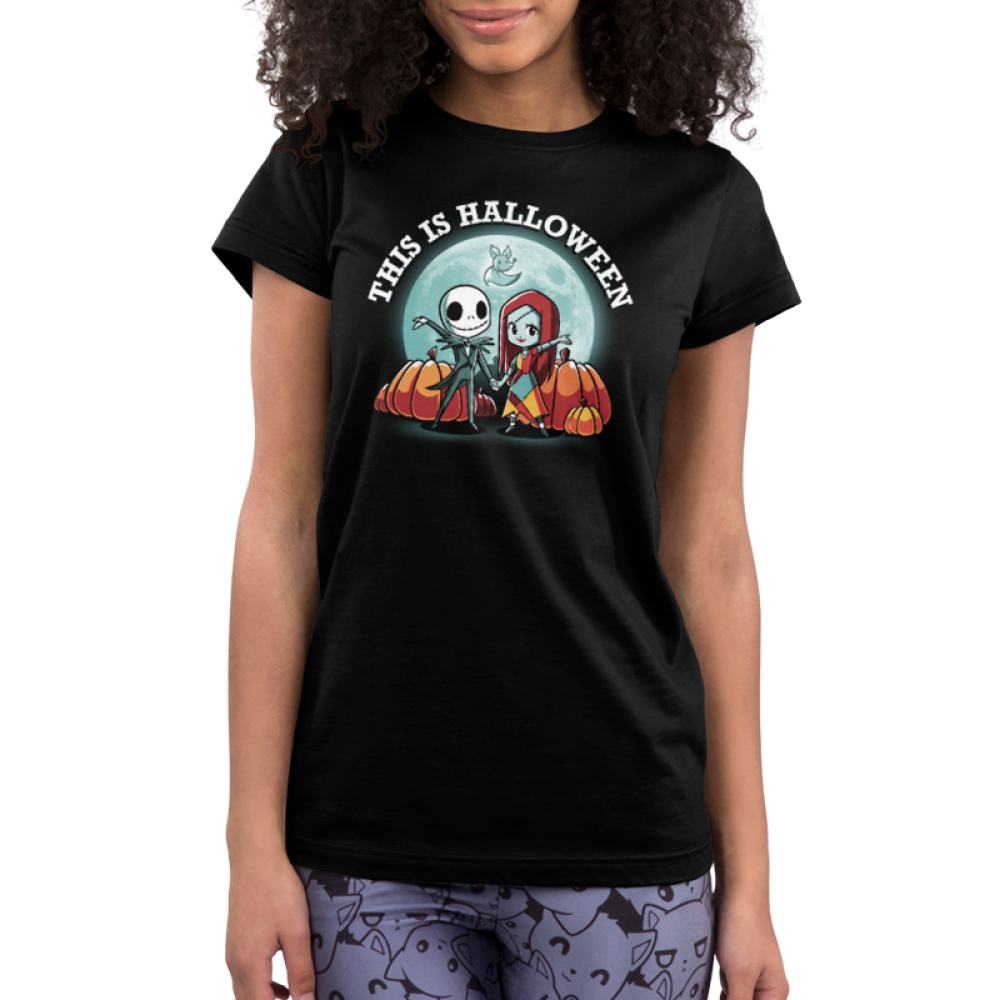 This is Halloween juniors tshirt model officially licensed black tshirt featuring jack and sally in front of the moon and pumpkins