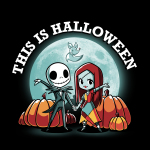 This is Halloween tshirt officially licensed black tshirt featuring jack and sally in front of the moon and pumpkins