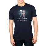 True Love Never Dies mens tshirt model  officially licensed navy tshirt featuring jack and sally in a graveyard