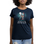 True Love Never Dies womens tshirt model  officially licensed navy tshirt featuring jack and sally in a graveyard
