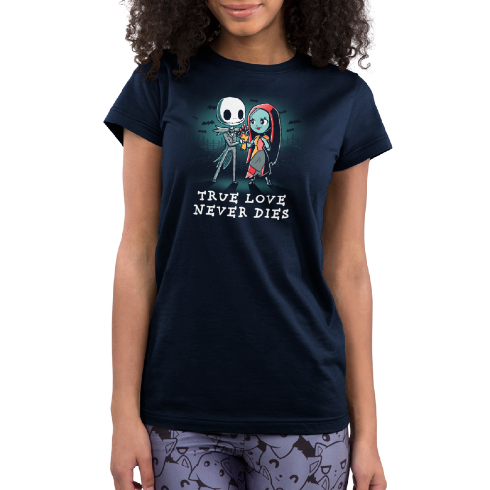 True Love Never Dies juniors tshirt model  officially licensed navy tshirt featuring jack and sally in a graveyard