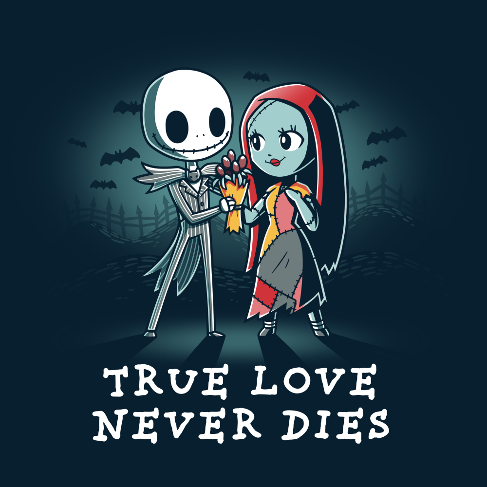 True Love Never Dies tshirt officially licensed navy tshirt featuring jack and sally in a graveyard