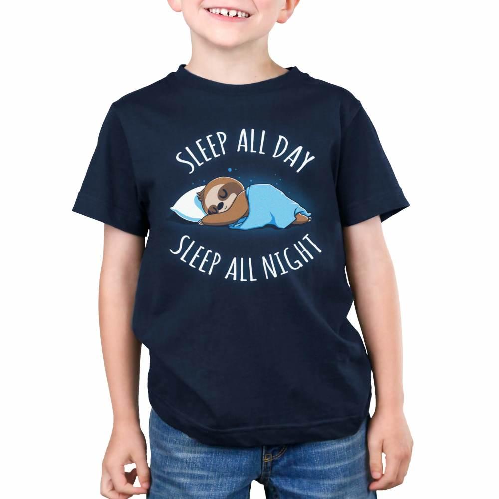 Sleep All Day, Sleep All Night Kid's T-Shirt Model TeeTurtle