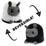 Reversible Llama Plushie featuring an angry white llama plushie that flips into a happy black llama plushie.